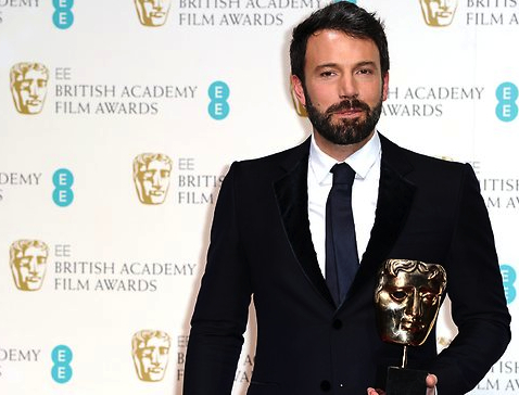 Ben Affleck with one of his two BAFTA Awards, Sunday February 10, 2013