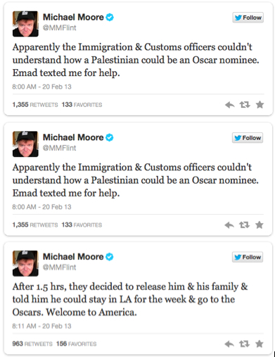 Michael Moore Twitter Updates on Emad Bunat's LAX Detainment
