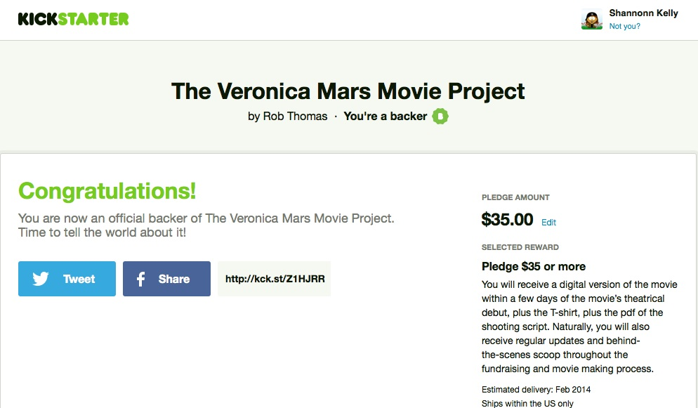 ShannonnKelly.com Veronica Mars Pledge Confirmation