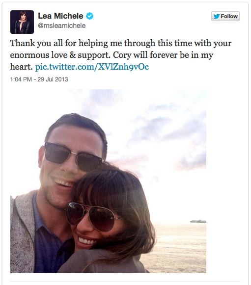 Glee's Cory Monteith and Lea Michele in 'Happier Times'...