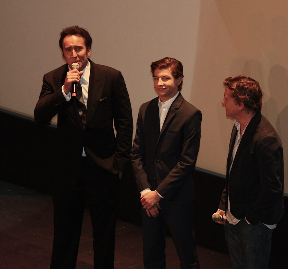 "Nicholas Cage answers my question during the Q&A for the TIFF Gala Premiere of ""JOE"" while co-star Tye Sheridan and director David Gordon Green look on."
