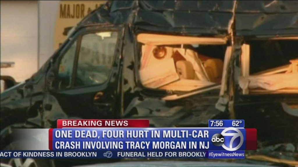 Crash Impact On Tracy Morgan's Limo Bus, June 07, 2014